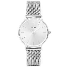 Aspirando Señoras Reloj De Acero Inoxidable Minuit, Correa de malla, Dial de plata, CL30023