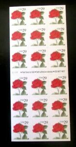 US Stamp #2490a  29c Red Rose self-adhesive, self-fold booklet
