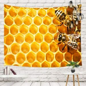 Nature Wildlife Honey Bees Tapestry Spring Insect Bee on Flowers Wall Tapestry