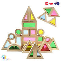 Wooden Rainbow Building Stacking Blocks Montessori Educational Toy For baby Kids