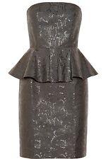 Stella McCartney Snake Print Metallic Jacquard Peplum Dress 44 NWT $1845