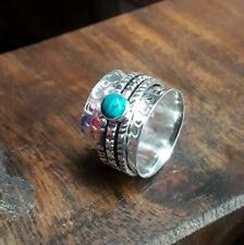 Turquoise Stone Ring 925 Sterling Silver Spinner Ring Meditation Ring Size sr10