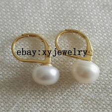 charm cultured 9-10mm white fresh water pearl leaver back earrings