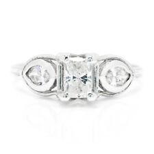 Radiant Cut Diamond 3-Stone Engagement Ring 14K White Gold .80ctw