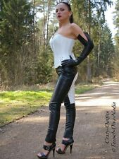Lederhose Leder Hose Schwarz / Weiß Reiterhosen-Style Maßanfertigung