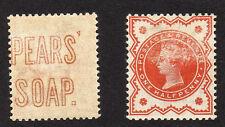 """Gran Bretaña 1887 ½ D con """"peras jabón"""" anuncio en el reverso Sg 197var. Perfecto."""