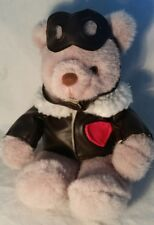 Plush-4-Play Teddy Bear w/ Leather-Look Flight Jacket w/Red Patch and Goggles