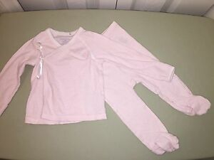 USED RALPH LAUREN 6 MO WHITE PINK STRIPED TWO PIECE SET LAYETTE POLO SO CUTE!