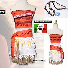 Vaiana Vestito Carnevale Abito Donna Bambina Cosplay Dress Moana Costume VAIDR03