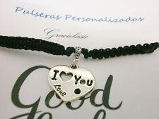 "Pulsera  "" I LOVE YOU "" charm en plata tibetana - En hilo negro ajust."