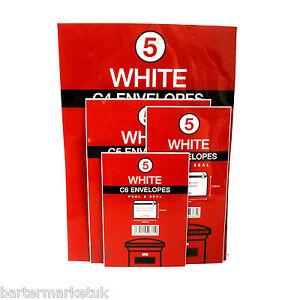 White Envelopes 4 Packs 1xC4 1xC5 1xDL 1xC6 Peal & Seal 20 Envelopes in total