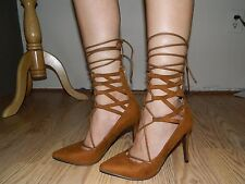 Lace up Tan brown Pointed Strappy Pumps sz 8