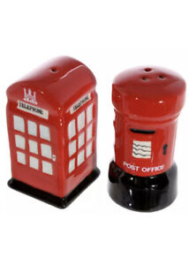 London Post & Telephone Box Salt & Pepper Shakers Cellar Pot Porcelain Cruet Set