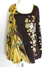 Ed Hardy Tunic Top Long Sleeve Multi-Graphic Relax Fit Size S