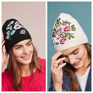 NWT $78 Anthropologie Danielle Kroll Best Of Buds Wool Floral Beanie Hat