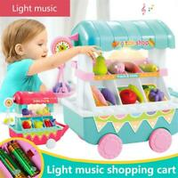 Simulate Kids Ice Cream Cart Trolley Toy Play-House food dessert Toy Gift