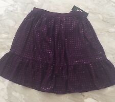 $395 DKNY NEW Purple Chiffon Sequined Knee-Length A-Line Skirt Bottoms ~ 4 NWT