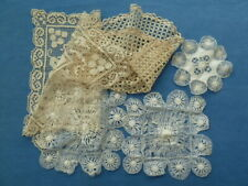 FIVE ANTIQUE TRAYCLOTHS AND LACE TABLE MATS
