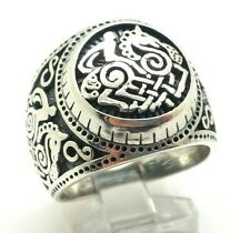 Ornate Mens Horse Band Sterling Silver 925 Ring 10g Sz.8.75 KWD436c