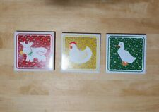 Vintage Price Products Farm Animal Tile Trivets (3)
