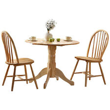 Natural Finish Extending Extendable Dining Table and Chair Set with 2 Seats
