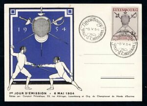 Luxembourg - 1954 World Fencing Championships First Day Issue Card / Cover