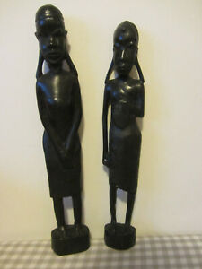 """Pair Of Carved Wooden African Statues Male & Female 13"""" H"""
