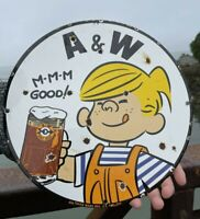 VINTAGE OLD A&W PORCELAIN ROOT BEER BEVERAGE SODA POP DENNIS THE MENACE SIGN