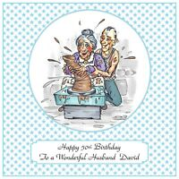 Mens Handmade Personalised Birthday Card  Any Age Ghost Pottery Funny Pensioner