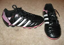ADIDAS Size 13K SOCCER SHOES/CLEATS (black/pink w/ laces) near perfect