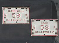 "ONTARIO, Belleville 1982 license plate ""58"" *TAXI/CARTAGE***MATCHED PLATE # SET*"