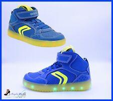 33 Geox xled sneaker junior boy con luci a led personalizzabili j927qb royal-white