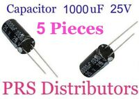 1000uF 25V Radial Electrolytic Capacitor 1000mF25 Volts 1000 uF 10X20mm 5 Pieces