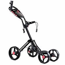 Folding 4 Wheel Golf Pull Push Cart Trolley Club Umbrella Scorecard Drink Holder