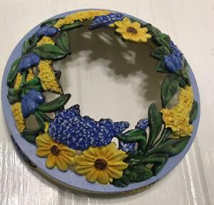 Yankee Candle Illuma-Lid Jar Candle Topper Blue Yellow Flowers Cottagecore Rare