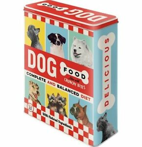 Retro DOG FOOD STORAGE TIN Large TREATS Cookie CONTAINER