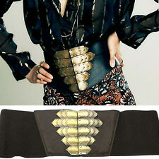 WOMEN ELASTIC BIG Gold BUCKLE WAIST HIP BLACK CORSET WIDE vintage BELT Stretch