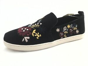 TOMS Alpargata Flats Black Suede w Embroidered Floral Shoes US 10 EU 42 RARE New