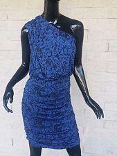 4b164ee5eda GIANNI BINI One Shoulder Ruche Blue Black Dress Ikat Print Stretchy BodyCon  Sz M