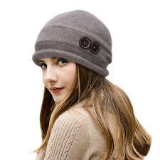 Womens Ladies 100% Wool Cloche Beanies Winter Cap Warm Slouchy Baggy Hats T178