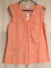 Ann Taylor LOFT-NWT-Peach Sleeveless Vneck Button Shirt Cotton Tank Top-SMALL