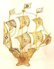 Vintage Portugal Filigree Sailing Galleon Ship Collectible Metal