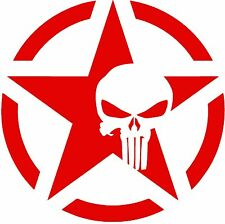 """Army Star Punisher Skull Jeep Military Decal Sticker, 5.4"""" x 5.4"""", 2PCS, RED"""