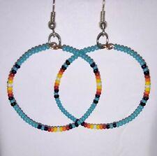 Hand Crafted Beaded Hoop Earrings