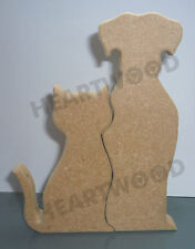 Dog & Cat pair in MDF (18mm thick)/Wooden blank craft shape