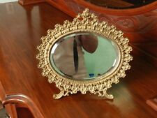 ORNATE NATIONAL BRASS MFG CO WARRANTED GOLD PLATE VANITY MIRROR