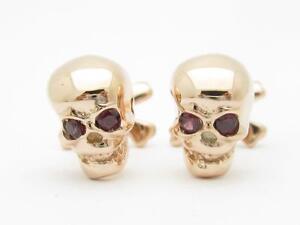Rose Gold Sterling Silver Custom Hand Made 3D Skull & Bone Design Cufflinks Gift