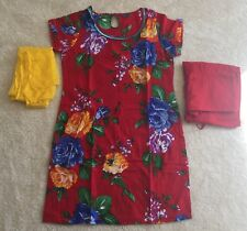 Indian casual wear 3 Piece Red Floral Print 100% Cotton Salwar Suit Size 38