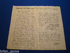 Letter from The Alamo, Lt. Col.  William Barret Travis,  Repro, Texas Army-1836