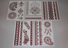 5 Sheets Red/Brown High Quality Henna Lace Boho Dreamcatcher Temporary Tattoos